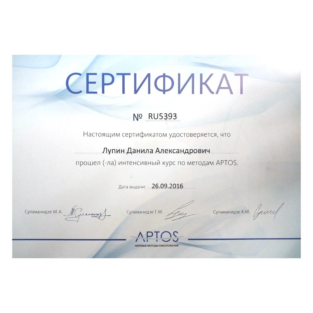 Сертификаты Данила Лупин